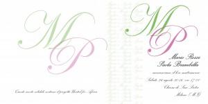 Invito quadrato personalizzabile nei colori e scritte. Costo 2,50 euro cad (busta personalizzata inclusa)